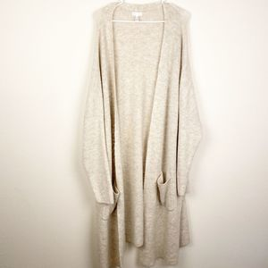 Leith Cream Long Open Front Cardigan 4x